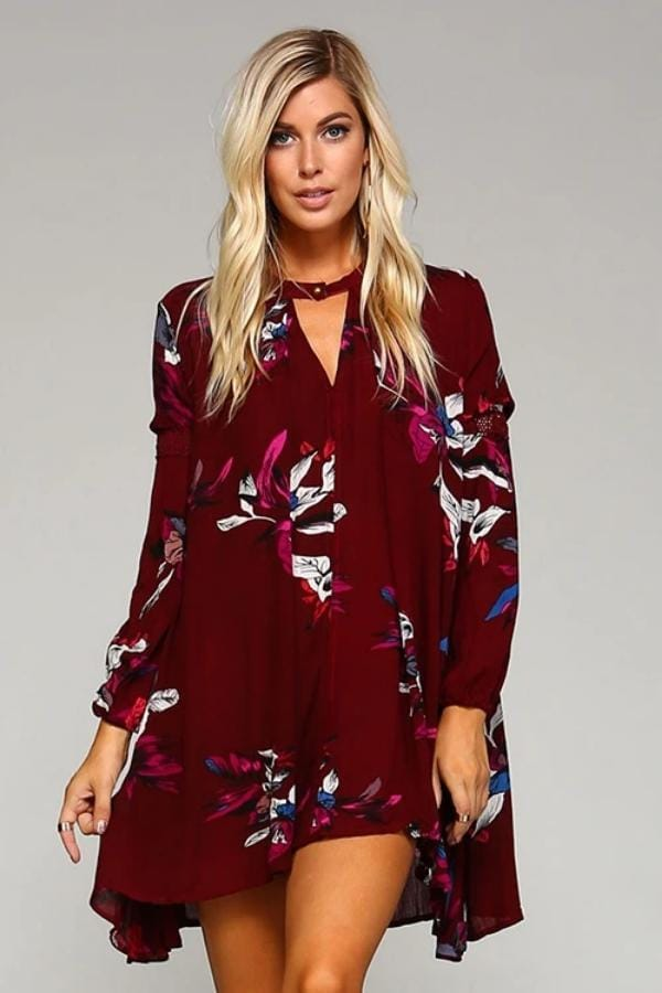 Red Floral Tunic Dress with Choker Button Neckline