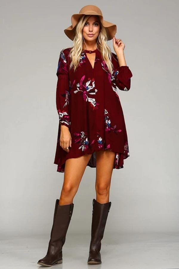 635e779d292 Red Floral Tunic Dress with Choker Button Neckline
