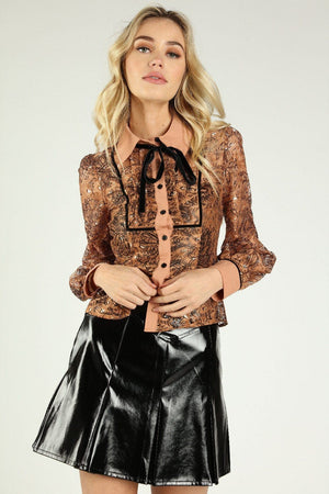 Retro Western Neck Tie Blouse
