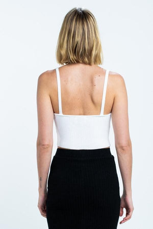 White Ribbed Knit Cami Crop Top
