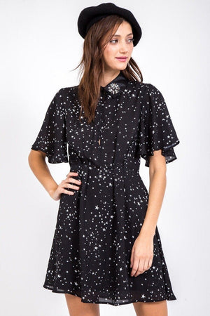 Sample Sale - Starry Collared Flare Dress