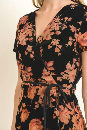 Velvet Rose Wrap Dress