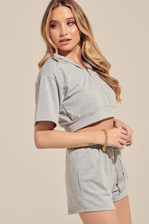 Heather Grey Shorts Set