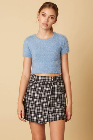 Fuzzy Blue Crop Top