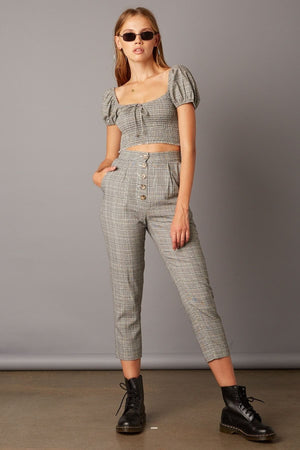 Plaid High Waist Pants