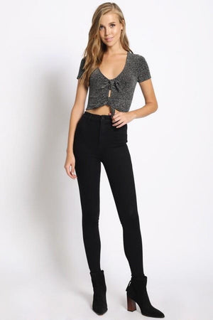 Glitter Double Tie Crop Top