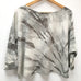Hand-dyed Raw Silk Top - warm grey arashi, 3/4 sleeve