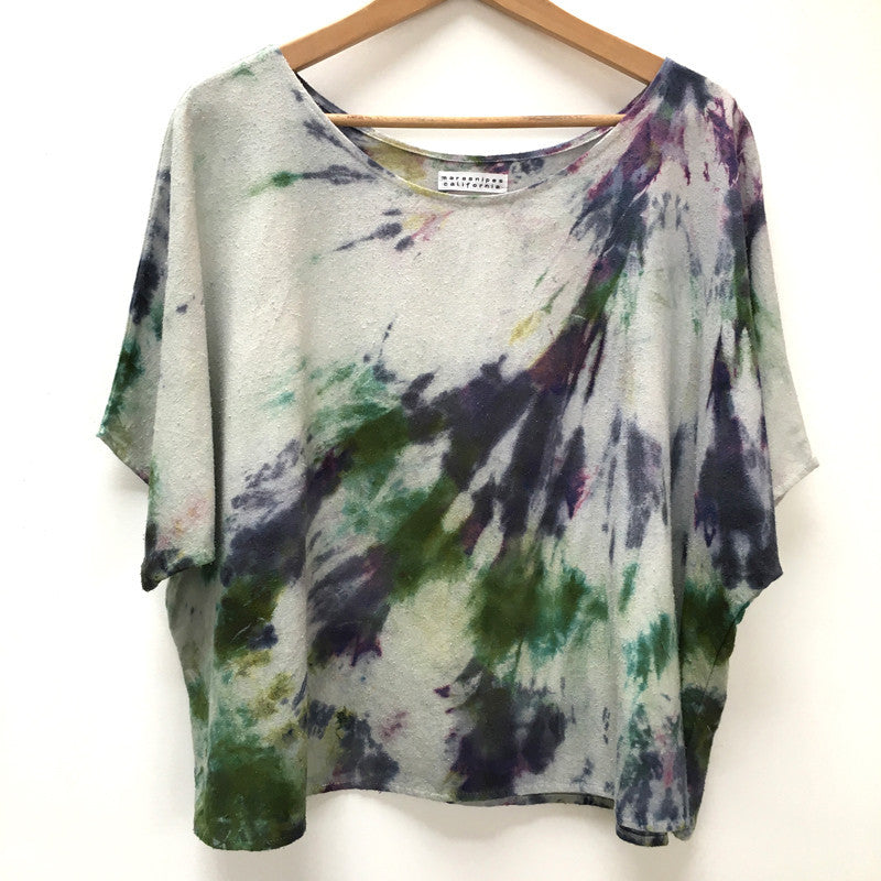 Hand-dyed Raw Silk Top - multi dye arashi - oversize
