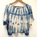 Hand-dyed Raw Silk Top - blue shibori