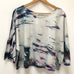 Hand-dyed Raw Silk Top - multi dye arashi, 3/4 sleeve