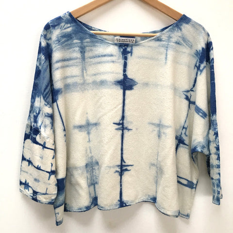 Hand-dyed Raw Silk Top - blue shibori, 3/4 sleeve