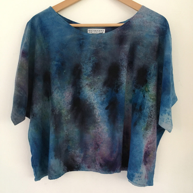 Hand-dyed Raw Silk Top - blue multi-dye