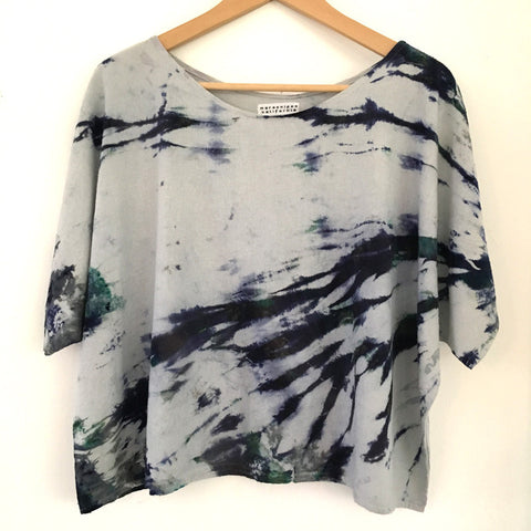 Hand-dyed Raw Silk Top - blue arashi