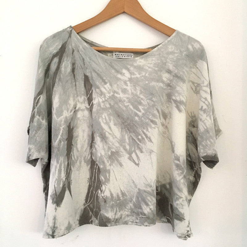 Hand-dyed Raw Silk Top - warm grey arashi