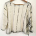 Hand-dyed Raw Silk Top - warm grey stripe, 3/4 sleeve