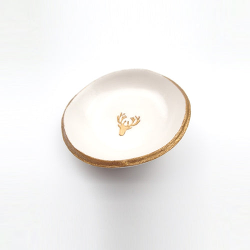 Golden Antlers Jewelry Dish
