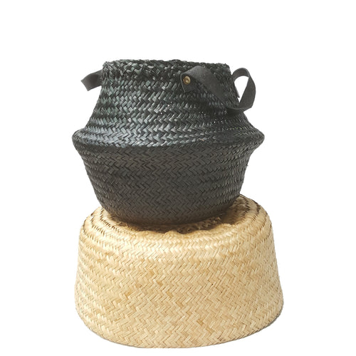 Black Hand-woven Seagrass Convertible Belly Basket - Small