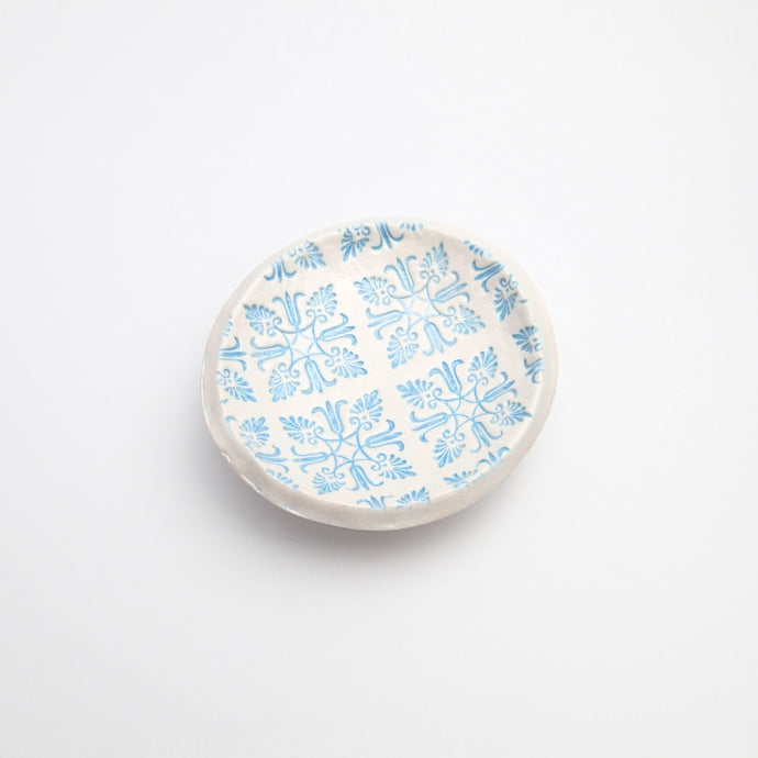Blue Flowers Jewelry Dish