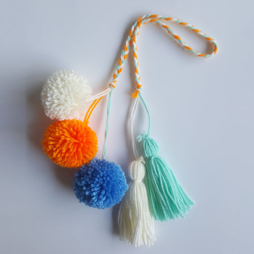 Pom Pom Bag Charm - Tropical Mix