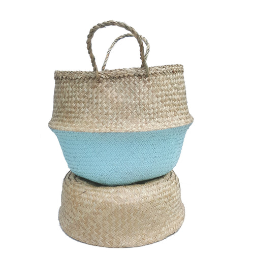 Teal Dipped Hand-woven Convertible Seagrass Belly Basket - Medium