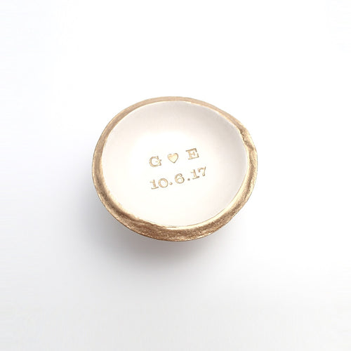 Initials with Date Personalized Jewelry Dish