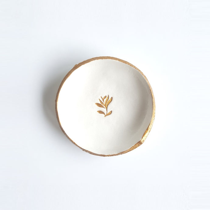Golden Leaves Jewelry Dish