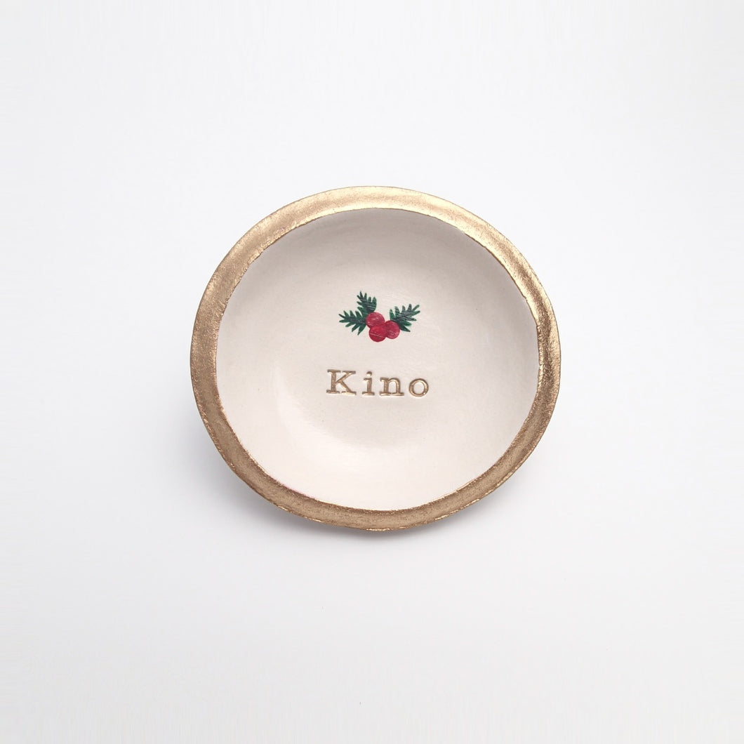 Personalized Christmas Mistletoe Jewelry Dish