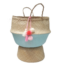 Teal Dipped Hand-woven Convertible Seagrass Belly Basket - Extra Large