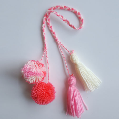 Multi-Colored Pom Pom Bag Charm - Pink Berry