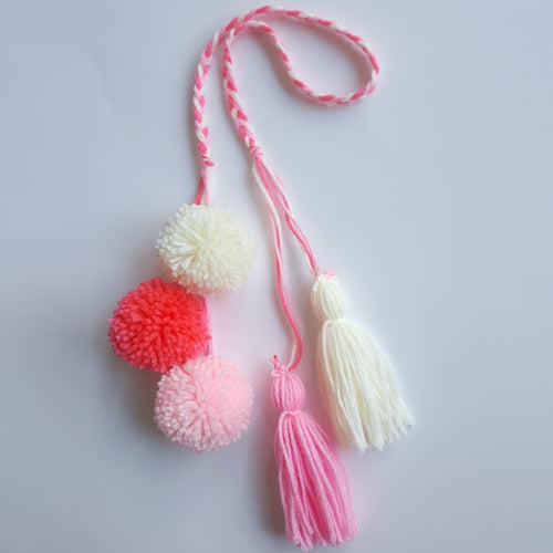 Pom Pom Bag Charm - Pink Berry