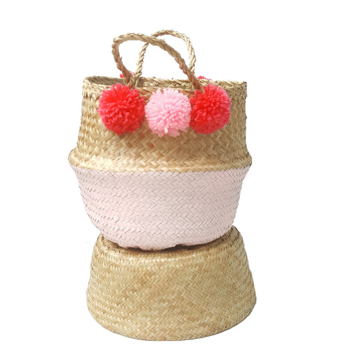 Pink Dipped Hand-woven Convertible Seagrass Belly Basket with Attached Pom Poms - Small