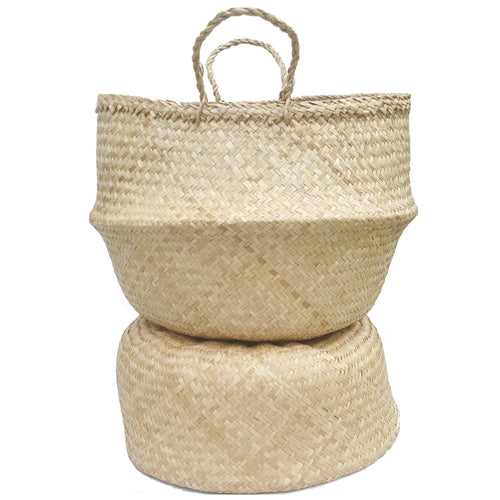 Natural Hand-woven Convertible Seagrass Belly Basket - Extra Large