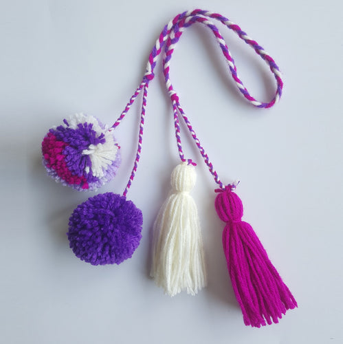 Multi-Colored Pom Pom Bag Charm - Purple Maroon