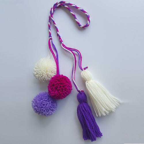 Pom Pom Bag Charm - Purple Maroon