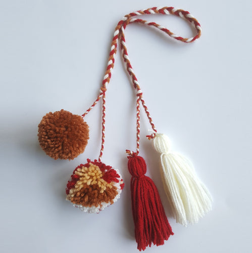 Multi-Colored Pom Pom Bag Charm - Red Cherry