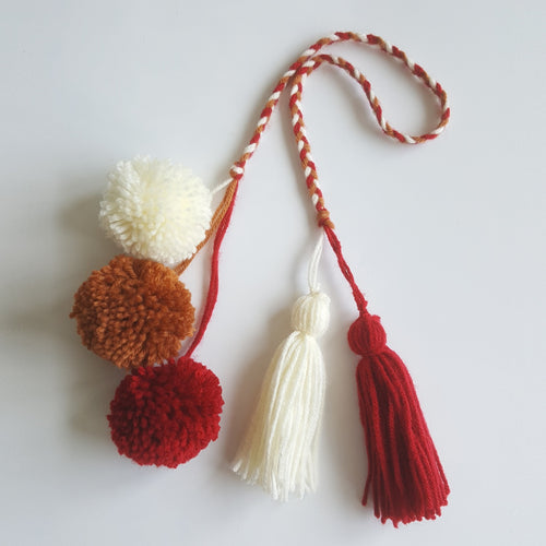Pom Pom Bag Charm - Red Cherry