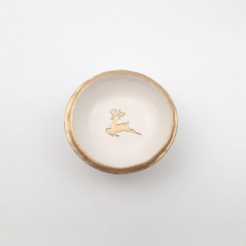 Golden Reindeer Jewelry Dish
