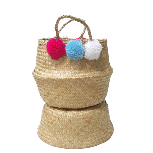 Natural Hand-woven Convertible Seagrass Belly Basket with Attached Pom Poms - Small