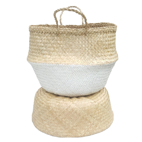 White Dipped Hand-woven Convertible Seagrass Belly Basket - Extra Large