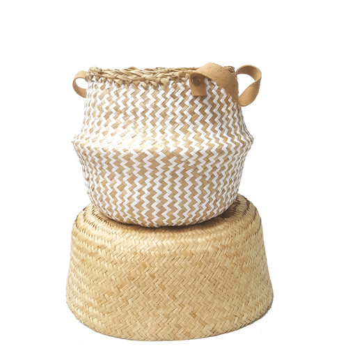 Natural Zig-Zag Weave Hand-woven Convertible Seagrass Belly Basket - Small