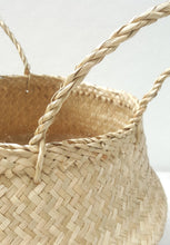 Natural Hand-woven Convertible Seagrass Belly Basket - Medium