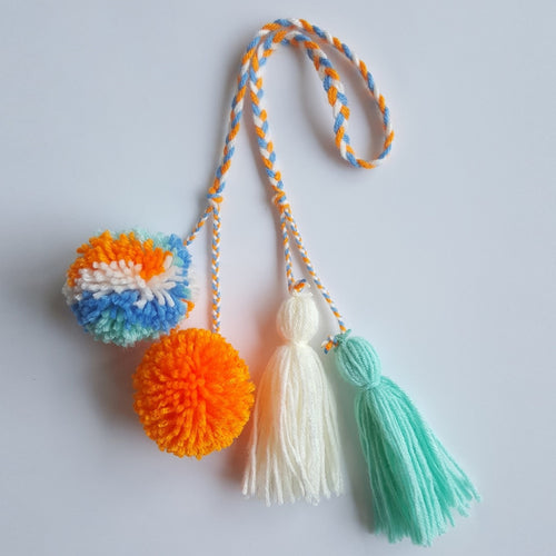 Multi-Colored Pom Pom Bag Charm - Tropical Mix