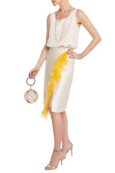 Cream Silk Yellow Feather Pencil Skirt