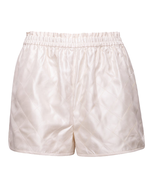 Off White Quilted Silk Shorts