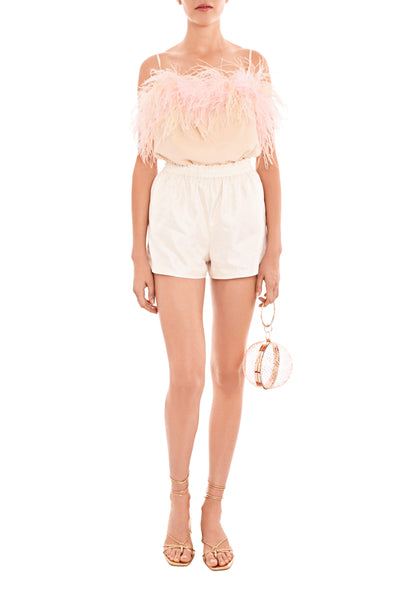 Pink Feathers Powder Silk Cami TOP