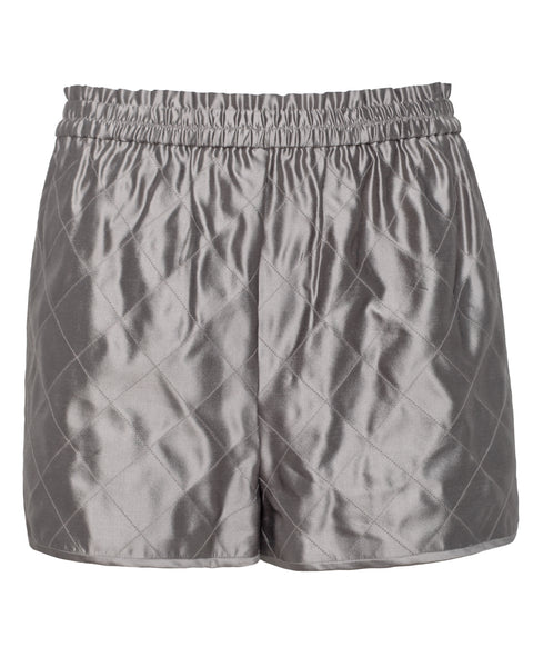 Grey Quilted Silk Shorts