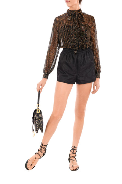 Black Quilted Silk Shorts