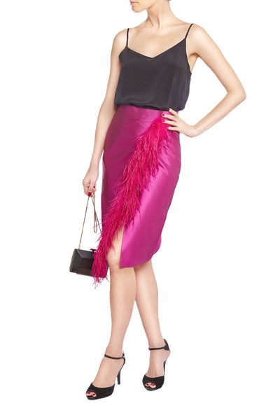 Fuchsia Feather Silk Pencil Skirt