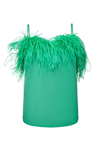 Green Feather Silk Cami Top