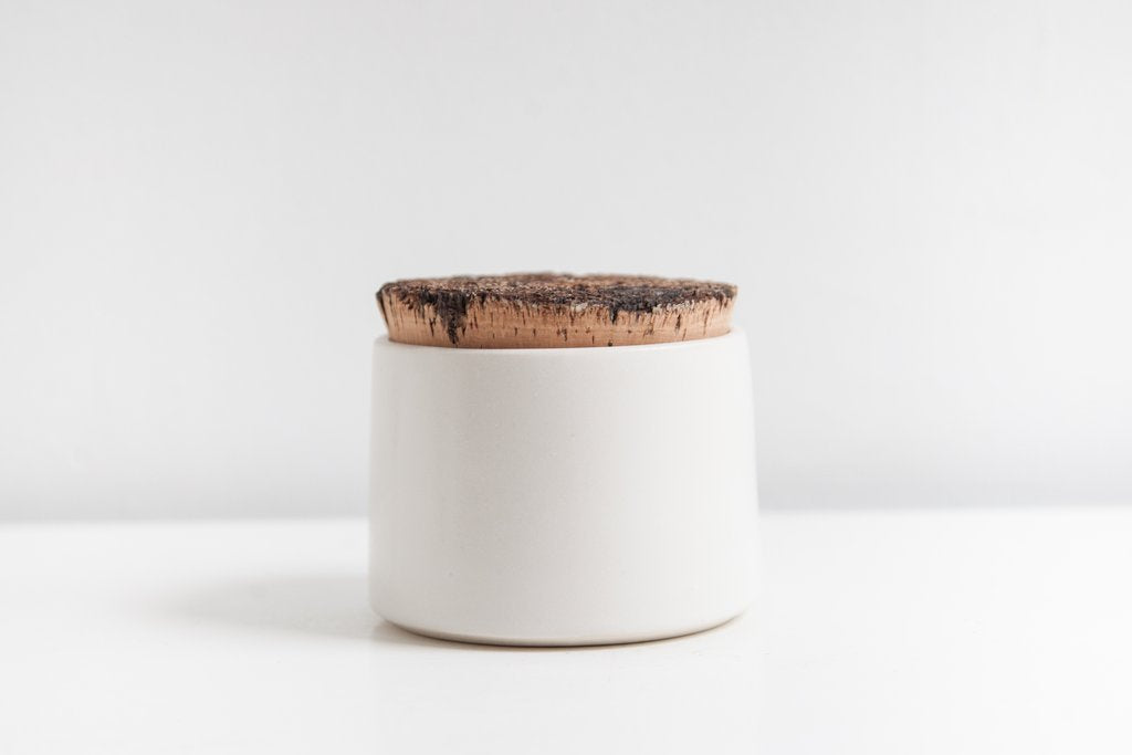 Earthen- Sugar Jar, snow